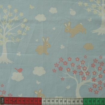 COTTON- BUNNY & CLOUD- TREES - PINK