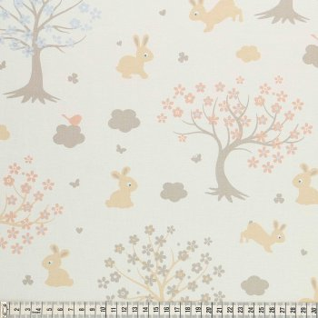 COTTON- BUNNY & CLOUD- TREES - WHITE