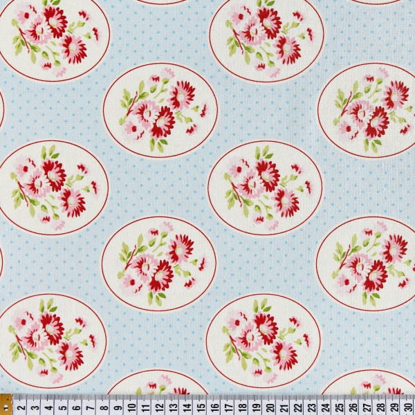 Free Spirit Tanya Whelan Rambling Rose Granny's Wallpaper- Blue